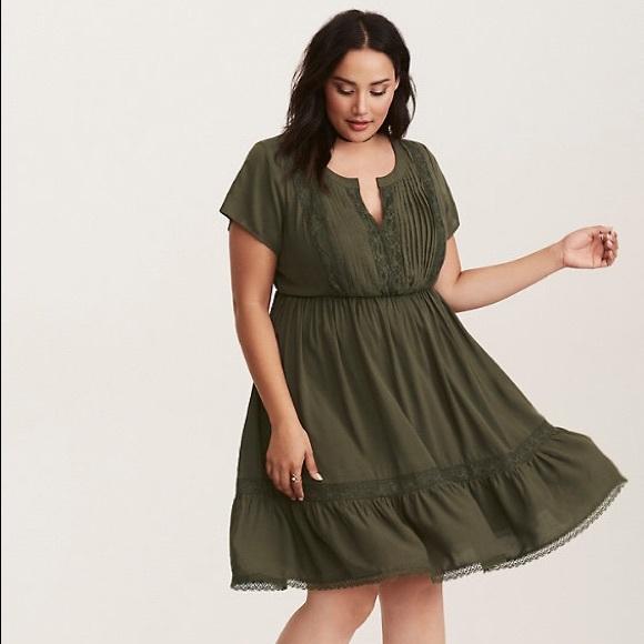 torrid Dresses & Skirts - Torrid Olive Green Challis Lace Insert Dress